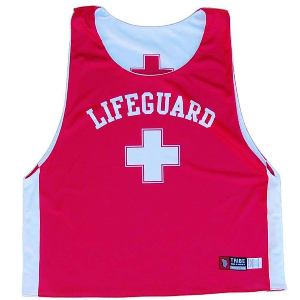 Lifeguard Sublimated Lacrosse Pinnie - White & Red / Adult X-Small / No - Graphic Lacrosse Pinnies
