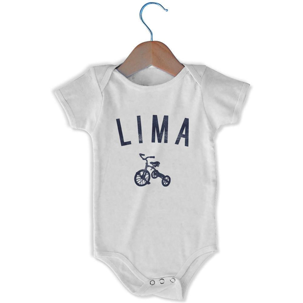 Lima City Tricycle Infant Onesie in White by Mile End Sportswear