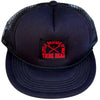 Little Brother of War Lacrosse Woven Label Trucker Hat in Black by Tribe Lacrosse