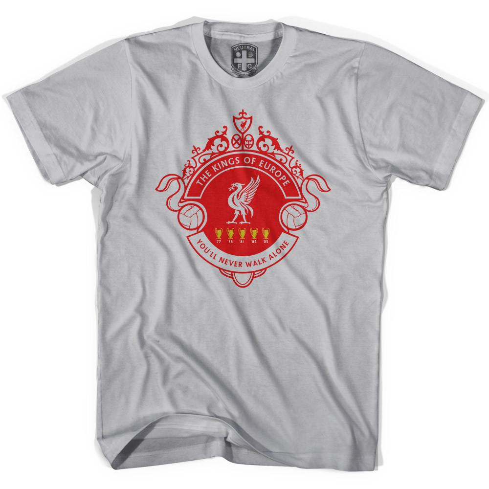 Liverpool Kings of Europe T-shirt in Cool Grey by Neutral FC