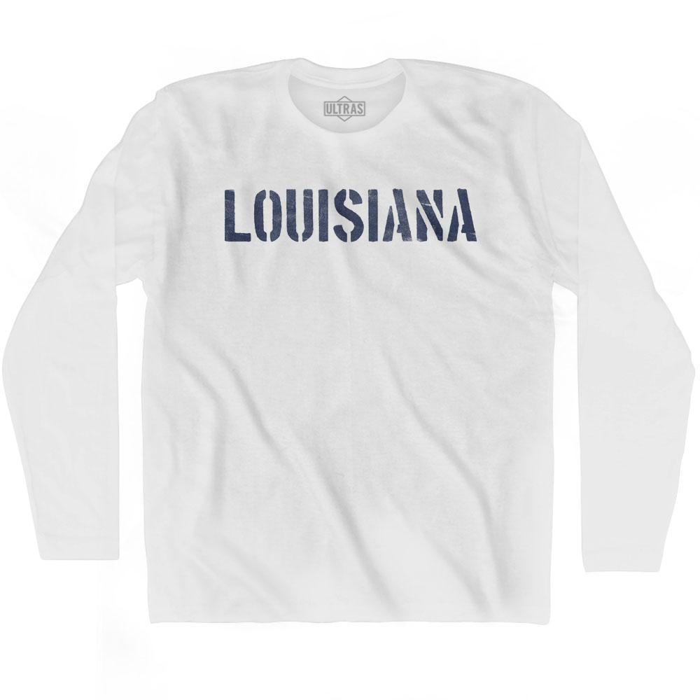 Louisiana State Stencil Adult Cotton Long Sleeve T-shirt by Ultras