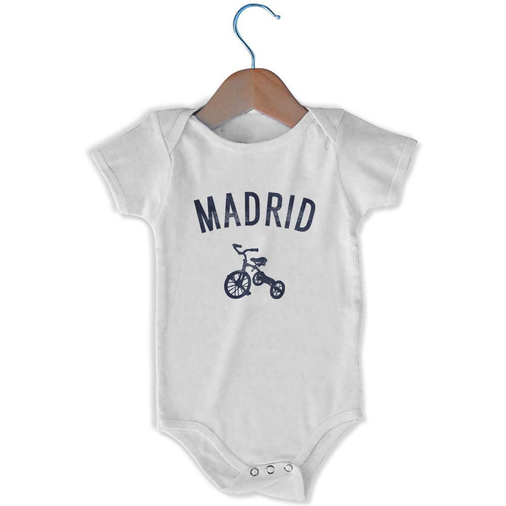 Madrid City Tricycle Infant Onesie in White by Mile End Sportswear