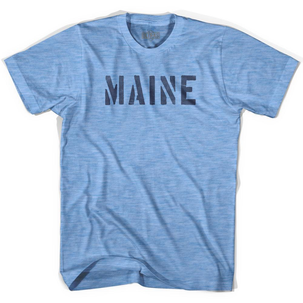 Maine State Stencil Adult Tri-Blend T-shirt by Ultras