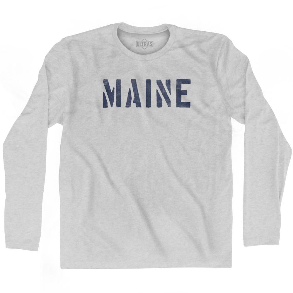 Maine State Stencil Adult Cotton Long Sleeve T-shirt by Ultras