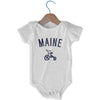 Maine City Tricycle Infant Onesie in White by Mile End Sportswear
