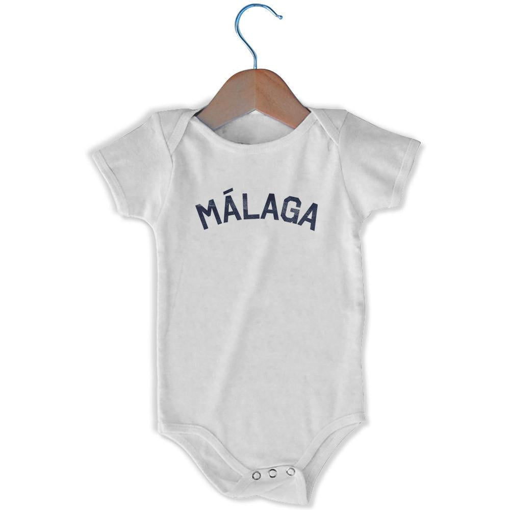 Málaga City Infant Onesie in White by Mile End Sportswear