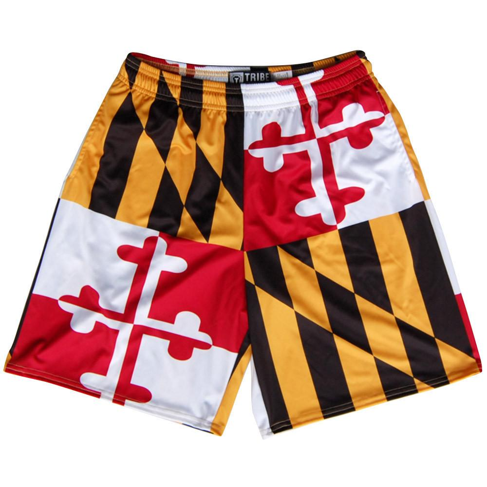 Maryland Flag Quads Yellow and Red Lacrosse Shorts in Red White Gold Marylandand Black by Tribe Lacrosse