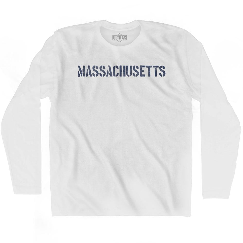 Mass State Stencil Adult Cotton Long Sleeve T-shirt by Ultras