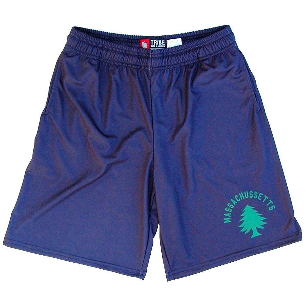 Massachusetts Original Flag Sublimated Lacrosse Shorts in Navy by Tribe Lacrosse