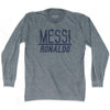Ultras Messi Over Ronaldo Soccer Long Sleeve T-shirt by Ultras