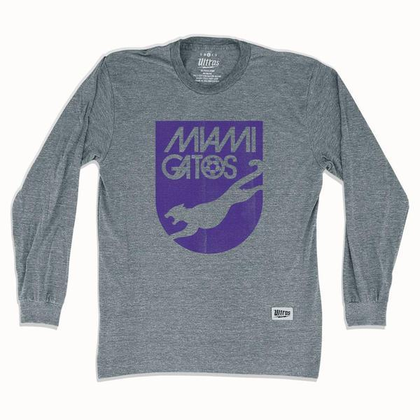 Miami Gatos NASL Soccer Long Sleeve T-shirt in Athletic Grey by Ultras