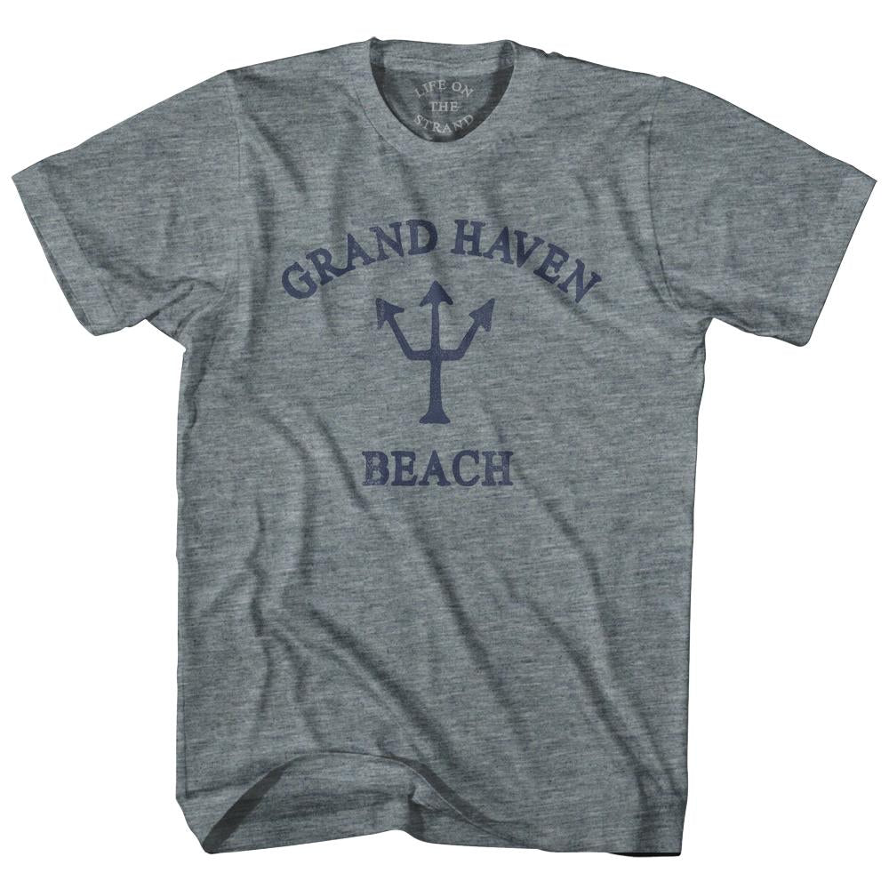 Michigan Grand Haven Beach Trident Youth Tri-Blend T-Shirt by Life on the Strand