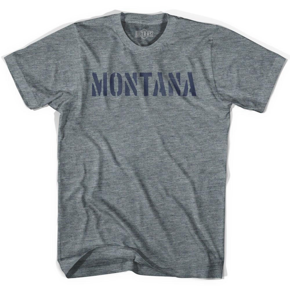 Montana State Stencil Adult Tri-Blend T-shirt by Ultras