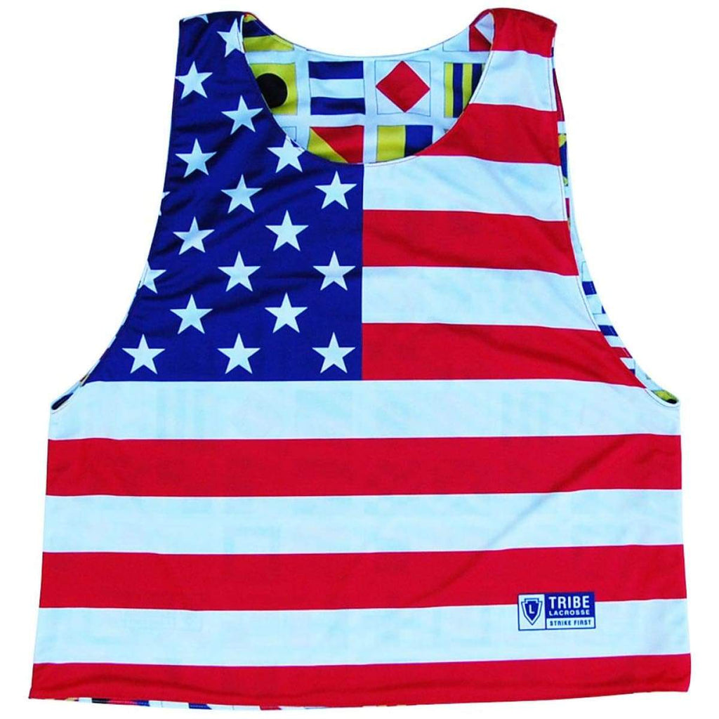 Nautical Sailing Flags and American Flag Reversible Lacrosse Pinnie - White / Youth X-Small / No - Graphic Lacrosse Pinnies