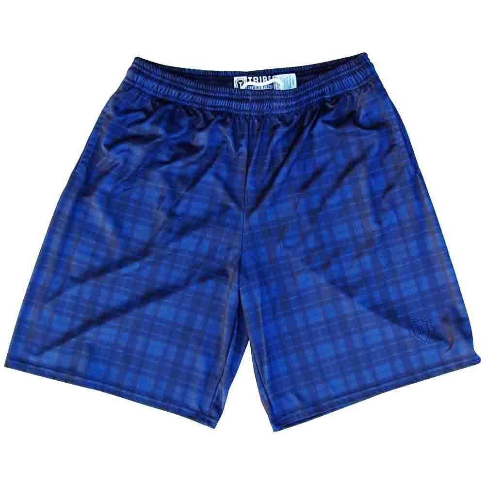 Navy Tartan Plaid Lacrosse Shorts in Navy by Tribe Lacrosse
