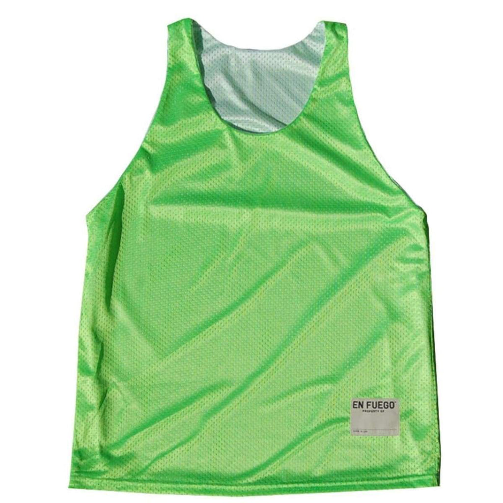 Neon Green and White Basketball Reversible - Neon Green/White / Adult Small - Basketball Reversible Pinnie
