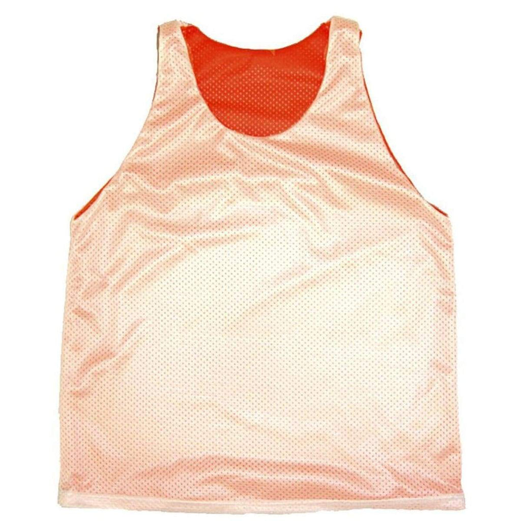 Neon Orange and White Basketball Reversible - Neon Orange /White / Adult Small - Basketball Reversible Pinnie