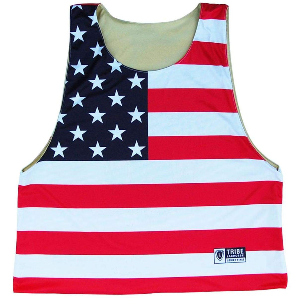 New Jersey State Flag Reversible Lacrosse Pinnie - Red / Youth X-Small / No - Graphic Lacrosse Pinnies
