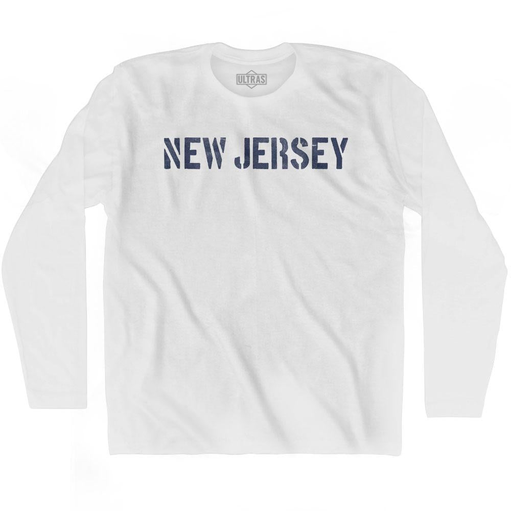 New Jersey State Stencil Adult Cotton Long Sleeve T-shirt by Ultras
