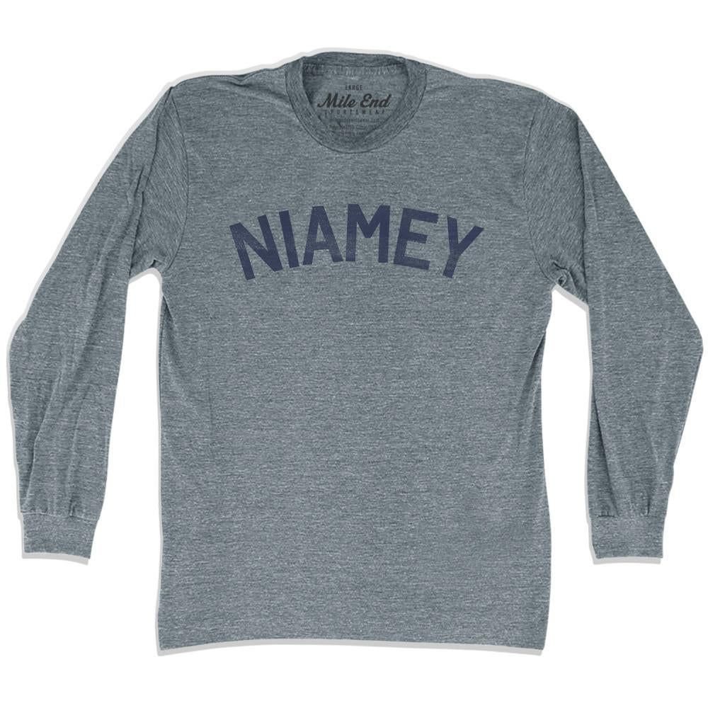 Niamey City Vintage Long Sleeve T-shirt in Athletic Grey by Mile End Sportswear