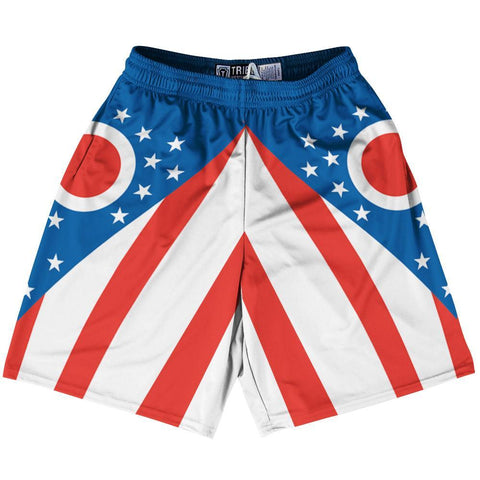 Red Youth Ohio Flag Lacrosse Shorts Youth