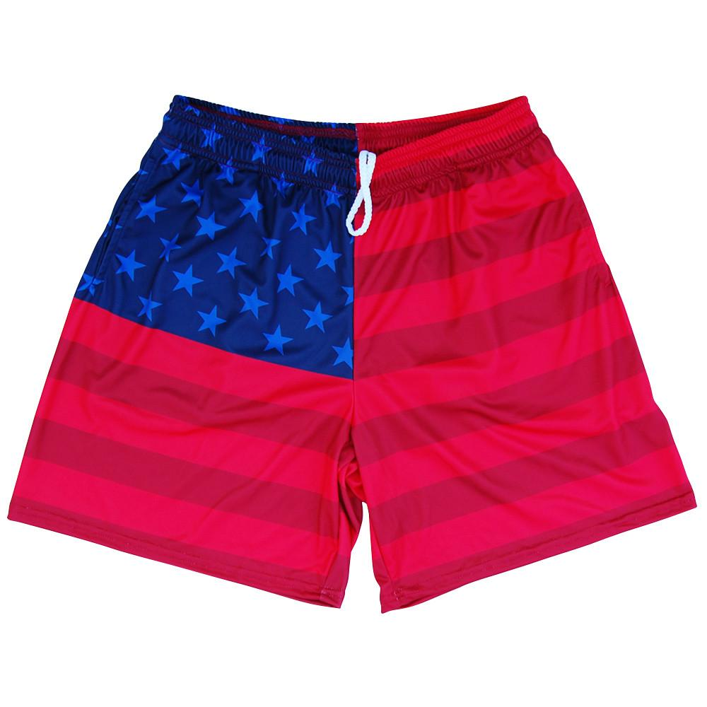 American Flag Olympiads Athletic Shorts in Red and Blue by Mile End Sportswear