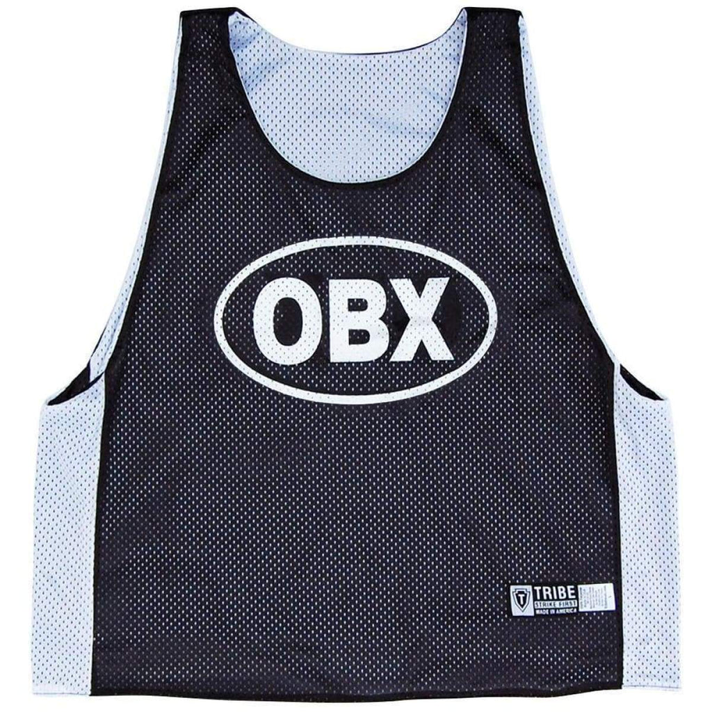 Outer Banks OBX Lacrosse Pinnie - Black and White / Youth Large - Graphic Sublimated Lacrosse Pinnie