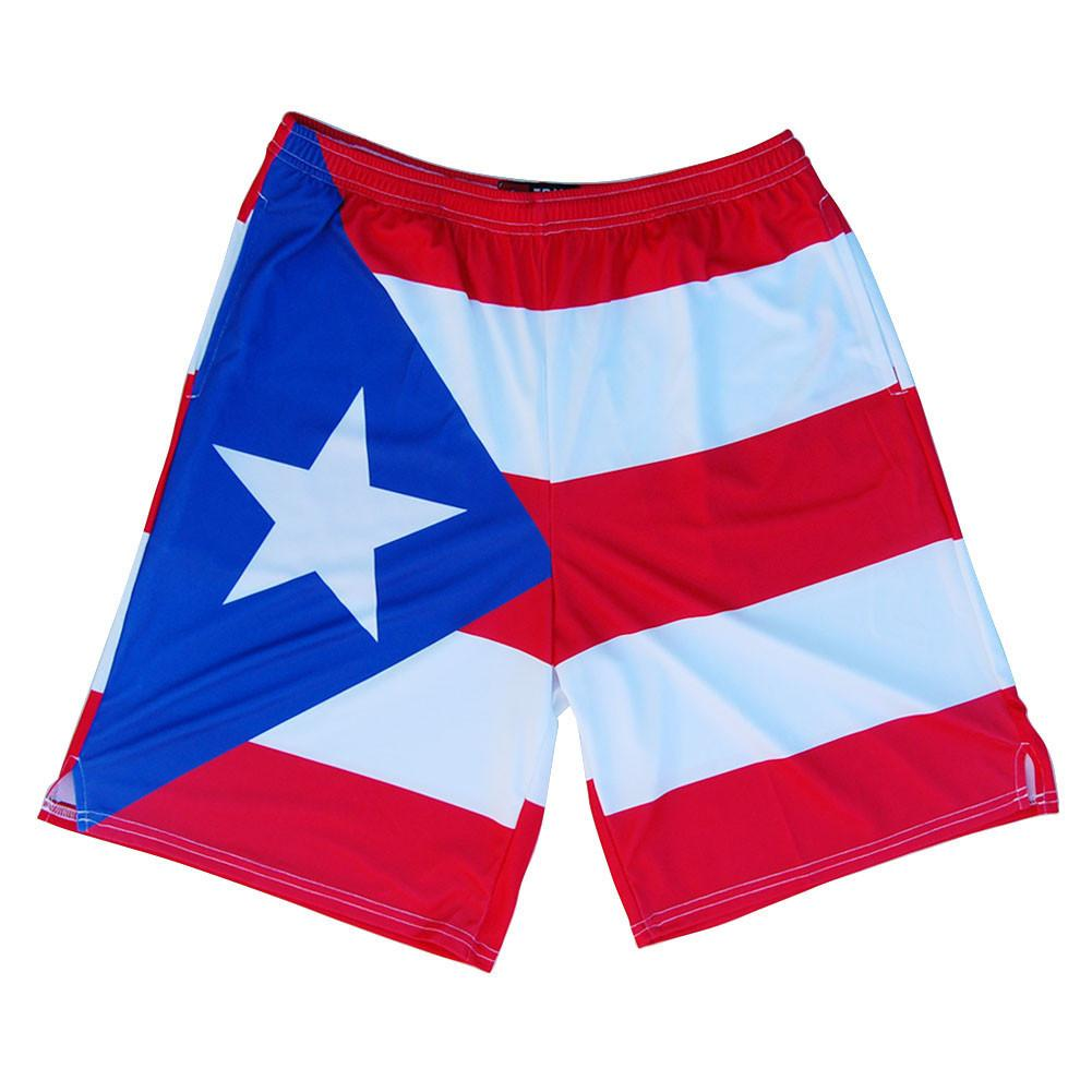Puerto Rico Flag Sublimated Lacrosse Shorts in Red by Tribe Lacrosse