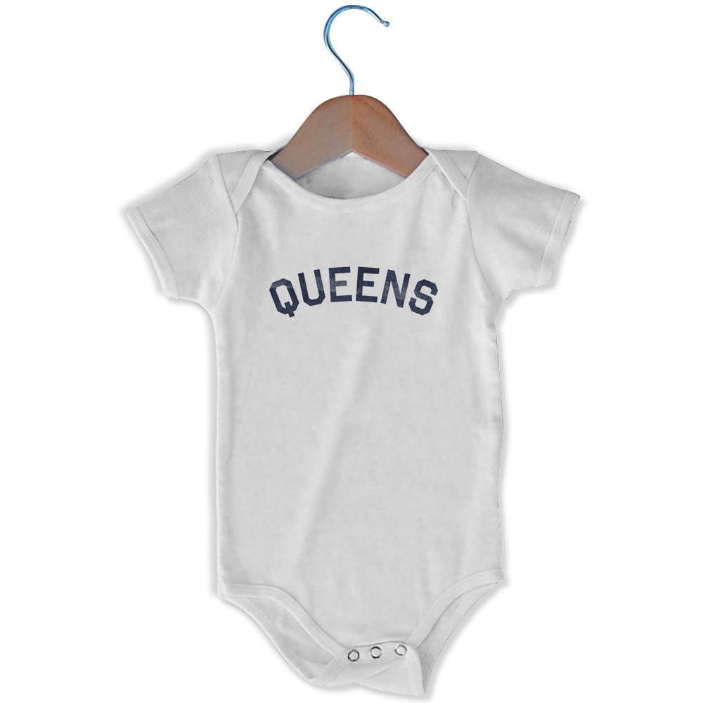 Queens City Infant Onesie in White by Mile End Sportswear