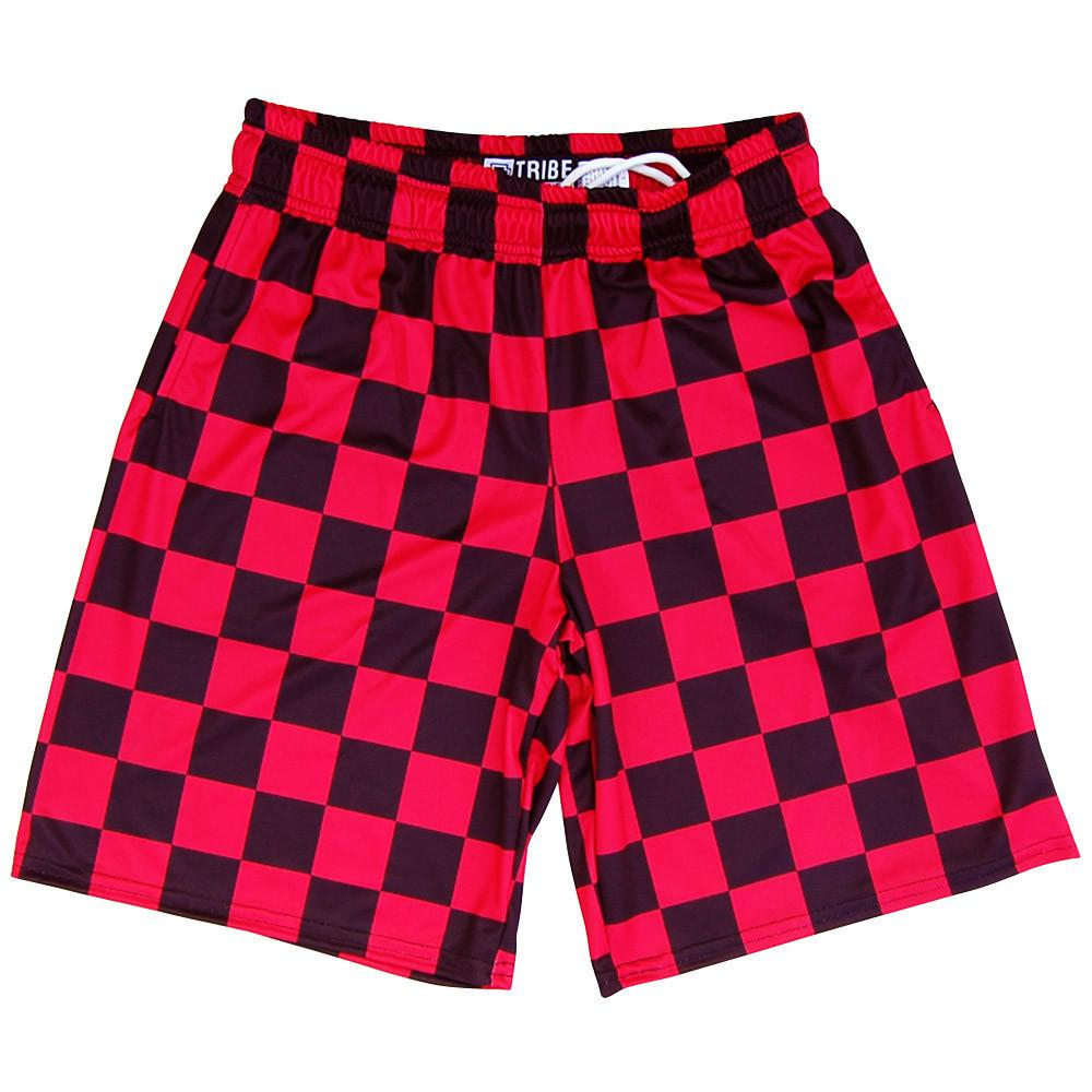 Red and Black Checkerboard Lacrosse Shorts in Black by Tribe Lacrosse