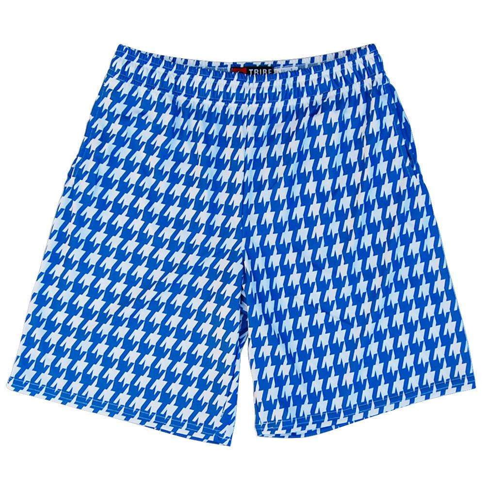 Royal and White Houndstooth Lacrosse Shorts in Royal and White by Tribe Lacrosse