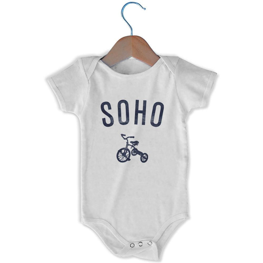 Soho City Tricycle Infant Onesie in White by Mile End Sportswear