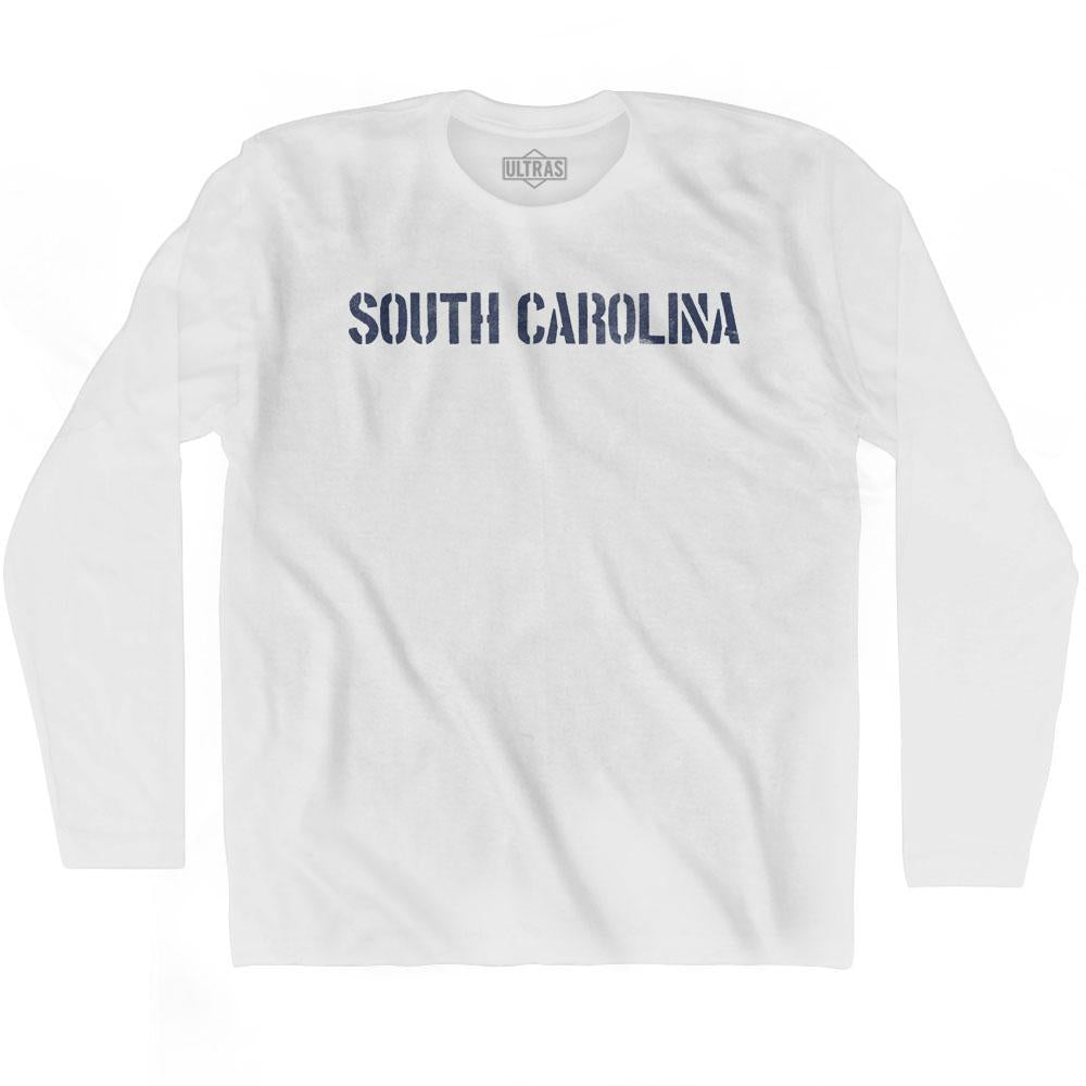 South Carolina State Stencil Adult Cotton Long Sleeve T-shirt by Ultras