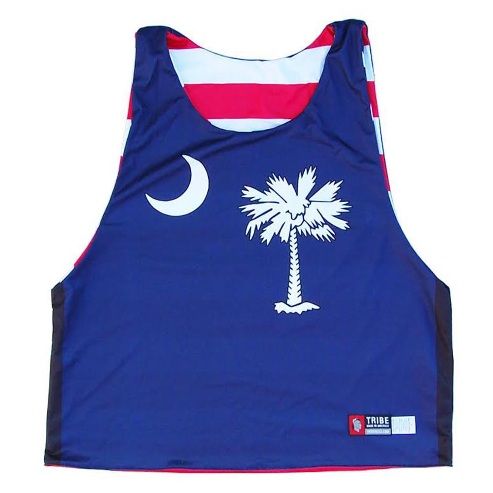 South Carolina and American Flag Sublimated Lacrosse Pinnie in Navy & white by Tribe Lacrosse