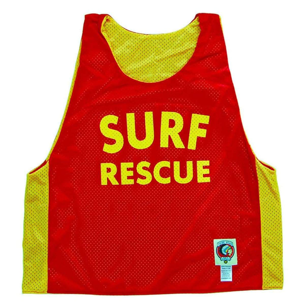Surf Rescue Lacrosse Pinnie - Red / Youth Large - Graphic Mesh Lacrosse Pinnies