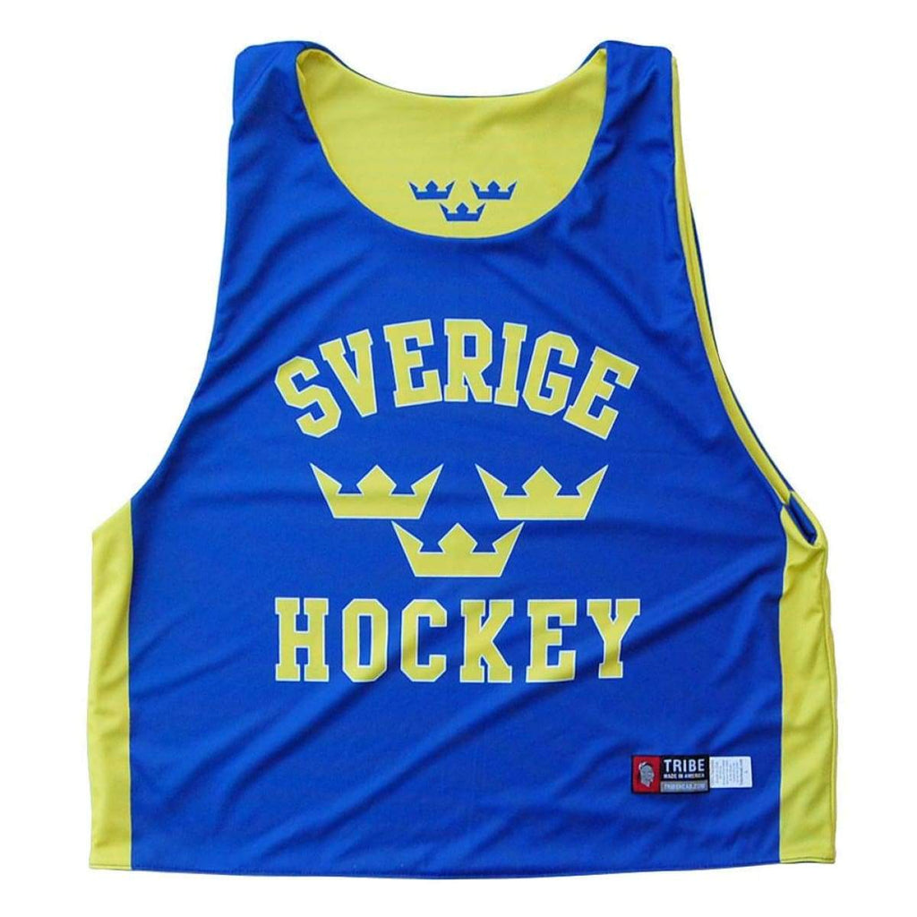 Sweden Sverige Hockey Sublimated Reversible Pinnie - Royal / Youth X-Small / No - Graphic Mesh Lacrosse Pinnies