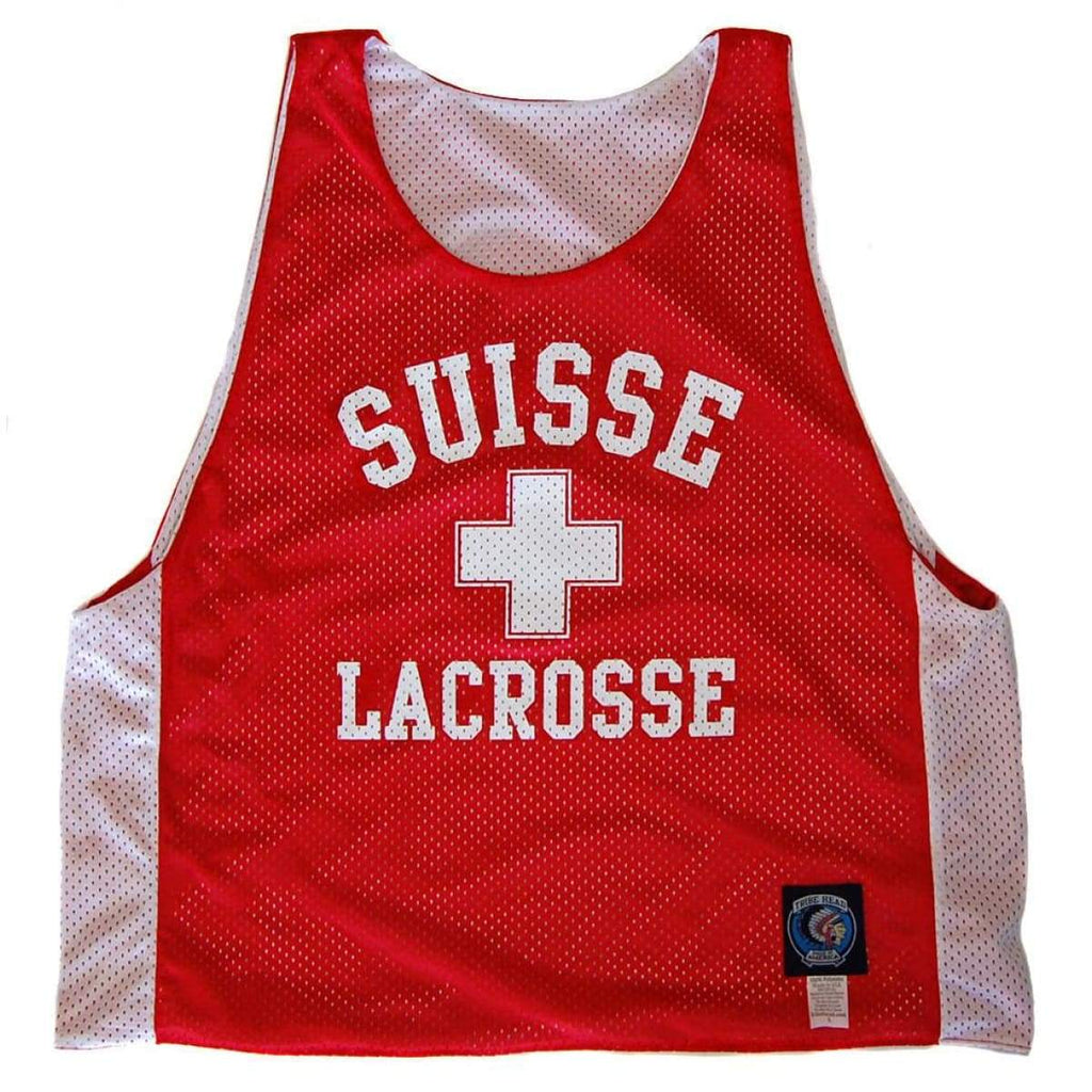 Switzerland Suisse Lacrosse Pinnie - Red / Youth Large - Graphic Mesh Lacrosse Pinnies