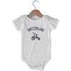 Switzerland City Tricycle Infant Onesie in White by Mile End Sportswear