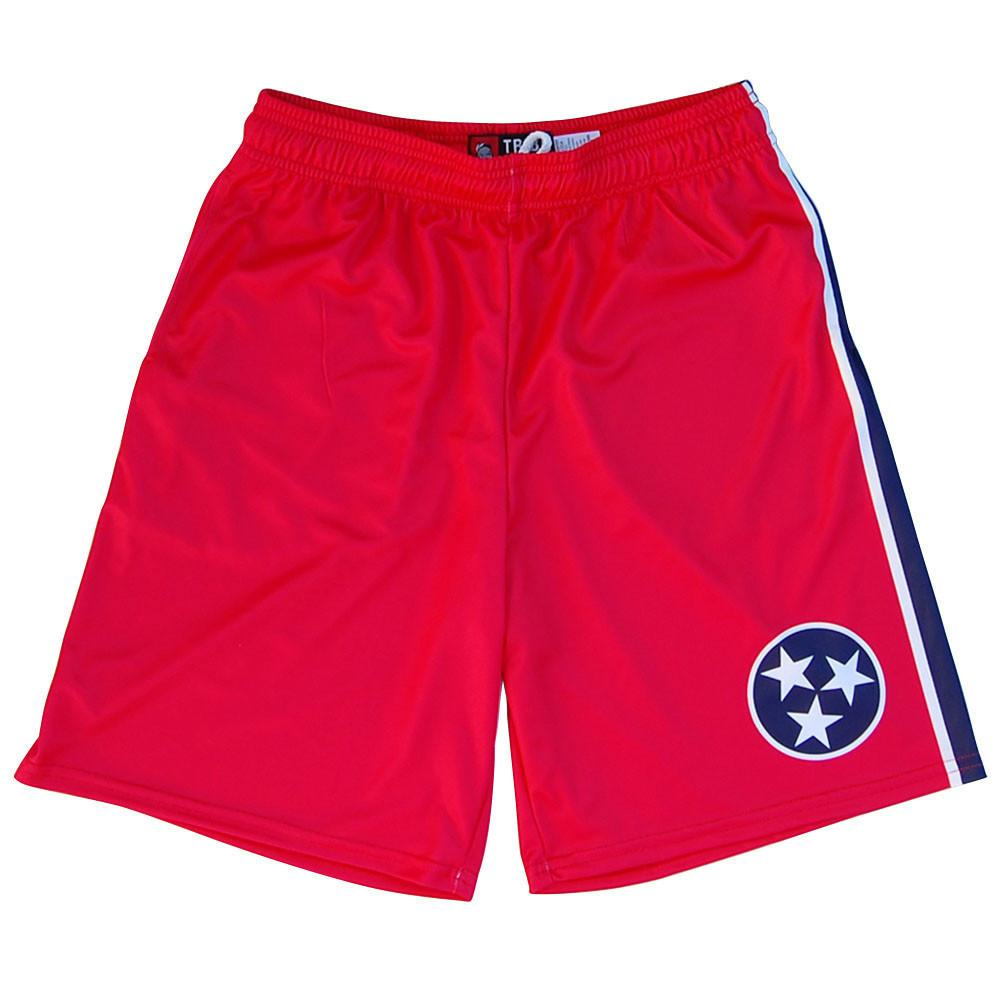 Tennessee Flag Lacrosse Shorts in Red and Blue by Tribe Lacrosse