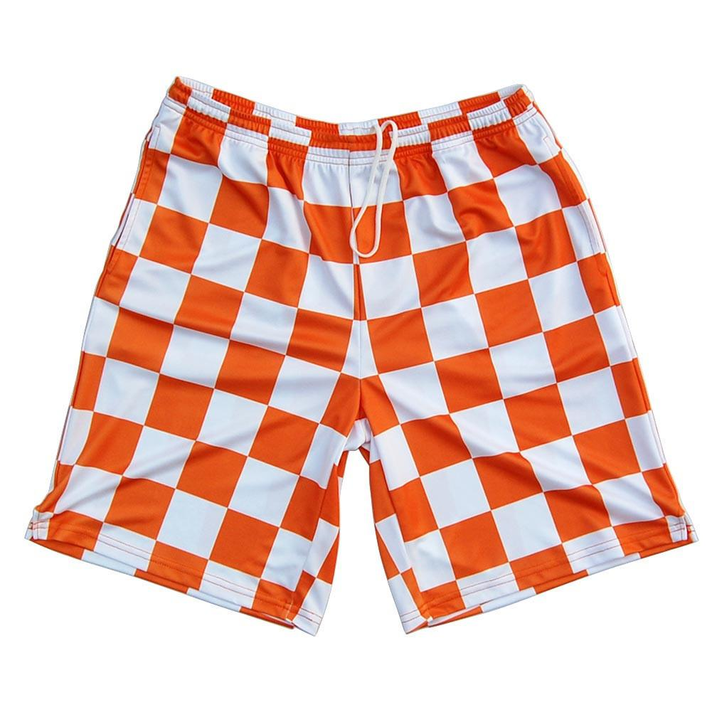 Tennesse Checkerboard Sublimated Shorts in Orange and Whiyte by Tribe Lacrosse