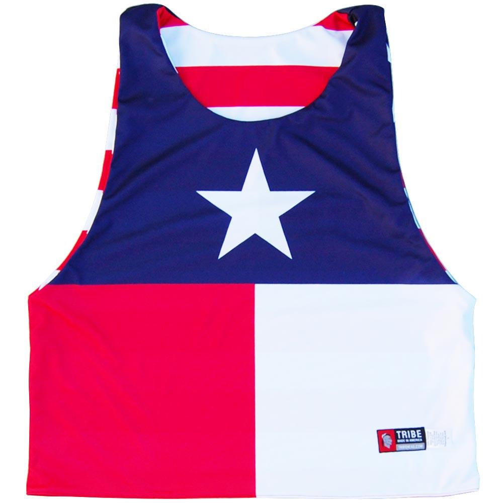 Texas Flag and American Flag Lacrosse Pinnie in Navy & Red by Tribe Lacrosse