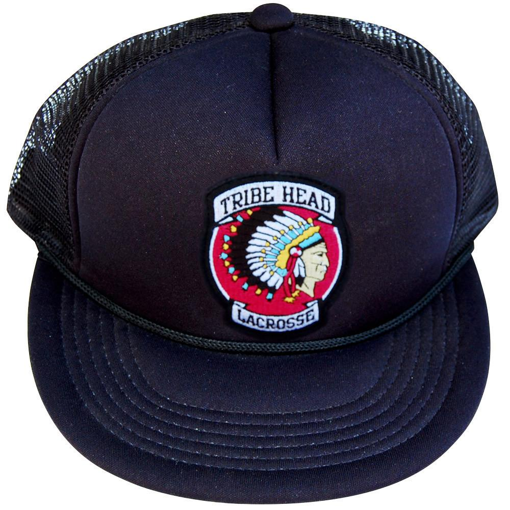 Tribe Head Lacrosse Patch Trucker Hat in Black by Tribe Lacrosse