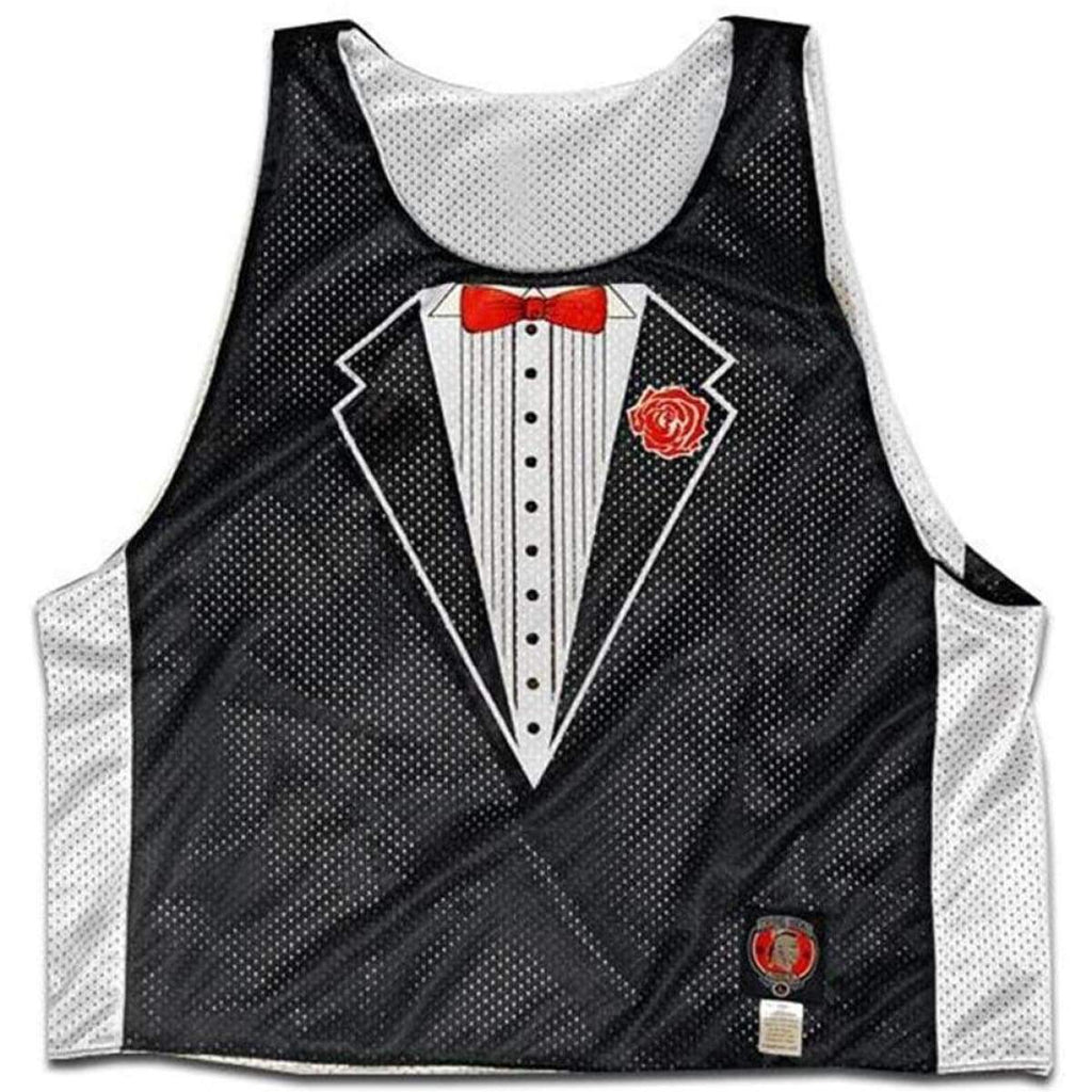 Tuxedo Black and White Lacrosse Pinnie - Black & White / Adult X-Small - Graphic Mesh Lacrosse Pinnies