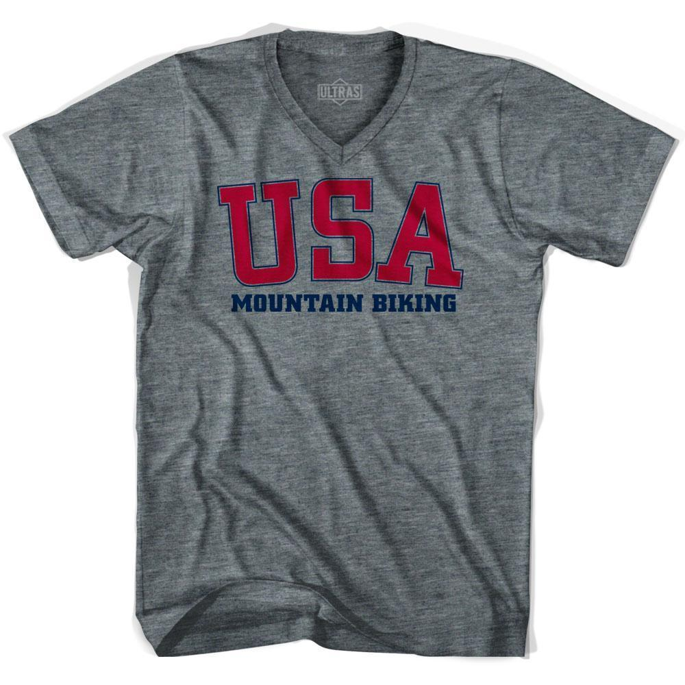 USA Mountain Biking Ultras V-neck T-shirt by Ultras