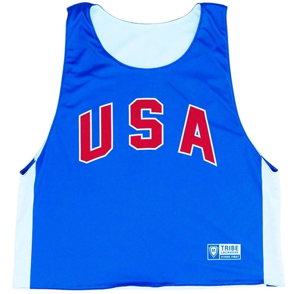USA Retro Lacrosse Reversible Pinnie - Royal and White / Youth X-Small / No - Graphic Lacrosse Pinnies