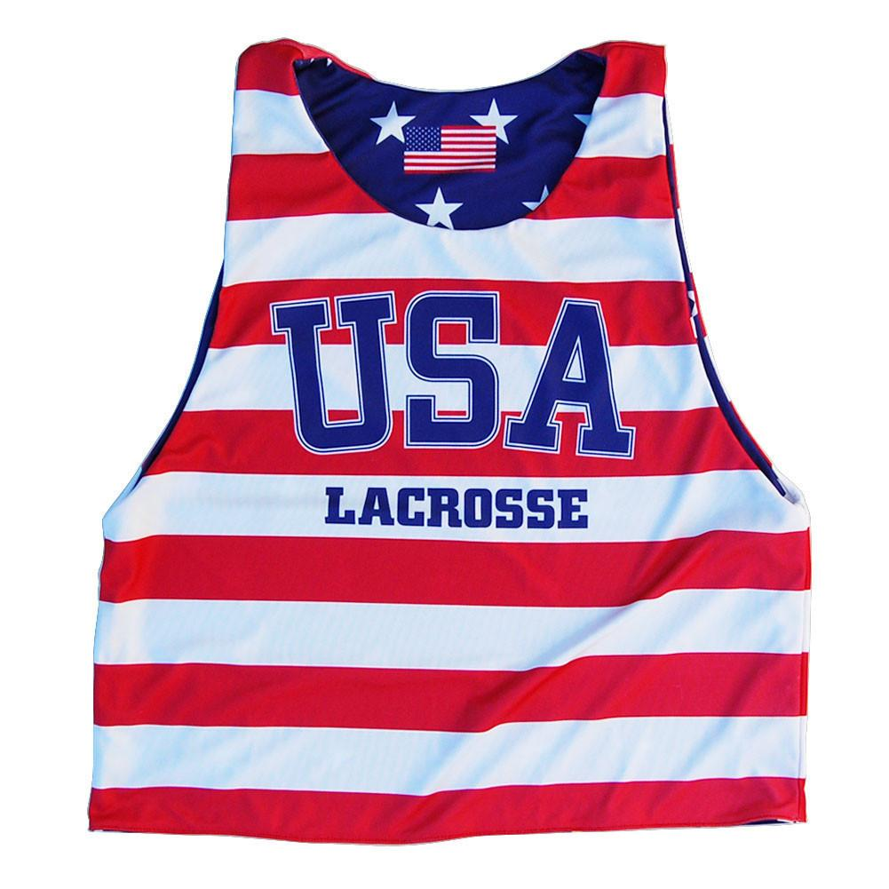 USA Lacrosse Stars and Stripes Sublimated Pinnie in Red/Blue by Tribe Lacrosse