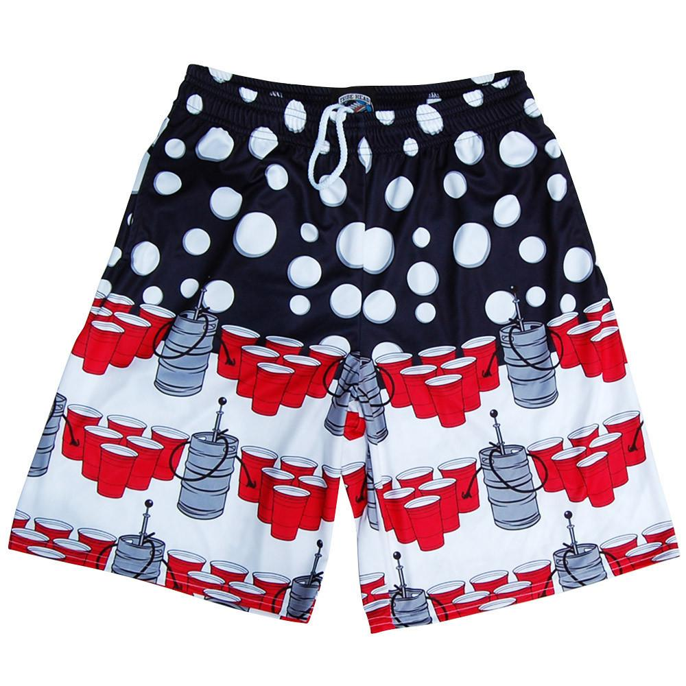 USA Patriotic Beer Pong Lacrosse Shorts in Navy by Tribe Lacrosse