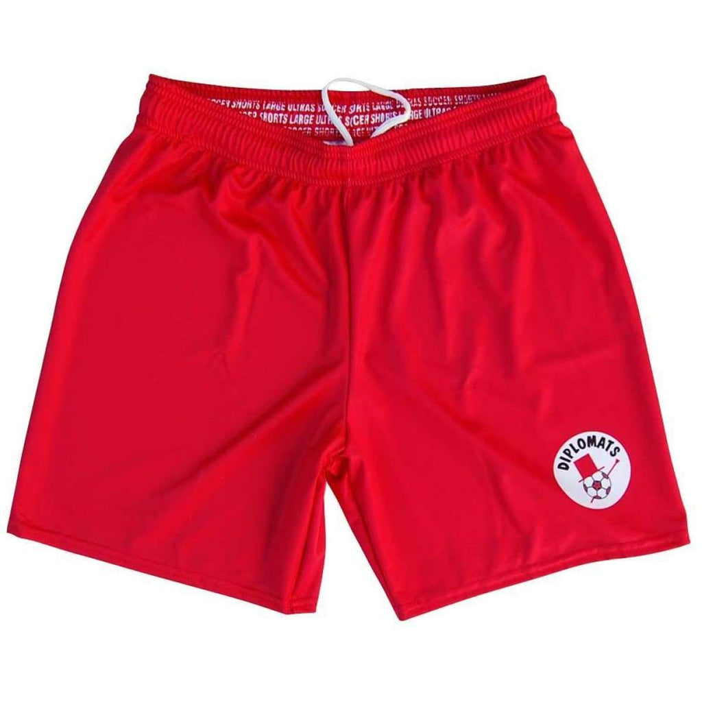 Washington Diplomats NASL Ultras Soccer Shorts - Red / Youth X-Small / No - Soccer Shorts