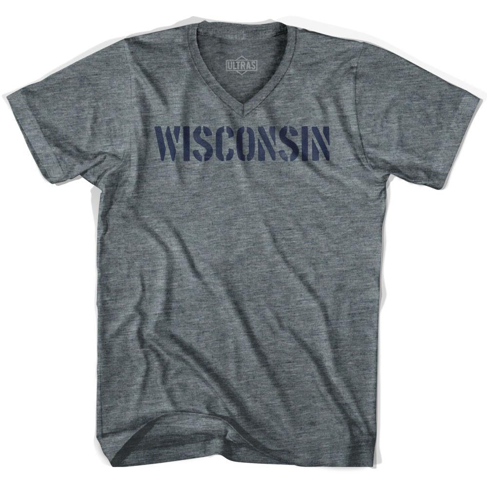 Wisconsin State Stencil Adult Tri-Blend V-neck T-shirt by Ultras