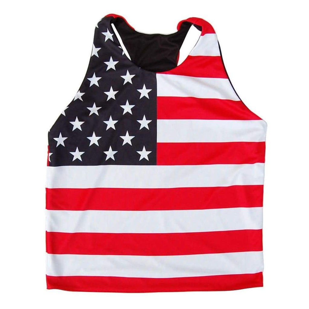 Womens American Flag Racerback Sublimated Pinnie - Graphic Lacrosse Pinnies
